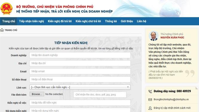 Giao diện website kết nối Chính phủ với Doanh nghiệp