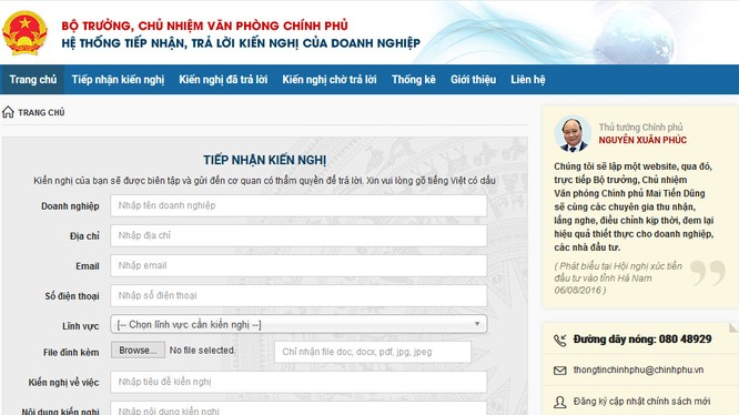 Những kiến nghị, thắc mắc của doanh nghiệp đều được trả lời giải đáp nhanh chóng và đầy đủ tại địa chỉ http://doanhnghiep.chinhphu.vn/