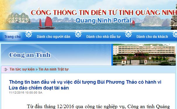 CA tỉnh Quảng Ninh thông tin về đối tượng Bùi Phương Thảo có hành vi lừa đảo chiếm đoạt tài sản