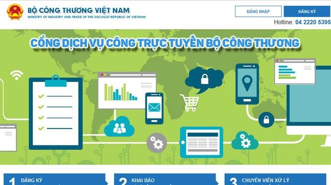 Giao diện Cổng dịch vụ công trực tuyến Bộ Công thương tại địa chỉ htpp://online.moit.gov.vn