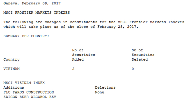 Thông cáo của MSCI