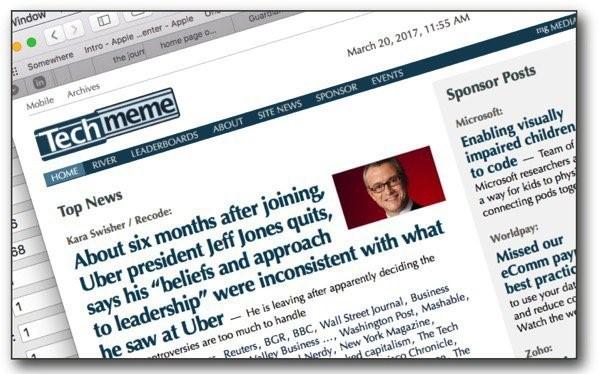 Giao diện của trang web công nghệ nổi tiếng Techmeme. Ảnh: BuzzFeed