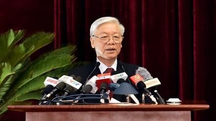 Tổng Bí thư Nguyễn Phú Trọng phát biểu khai mạc Hội nghị Trung ương 5. Ảnh: VGP/Nhật Bắc