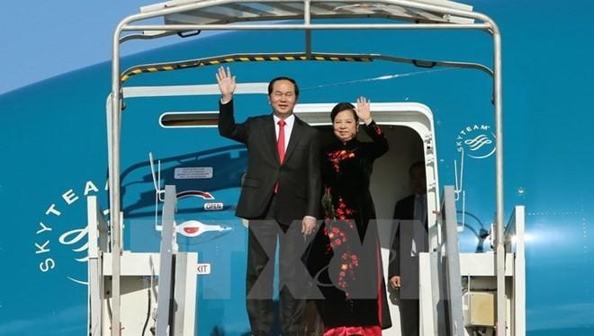 Chủ tịch nước Trần Đại Quang và Phu nhân. Ảnh: TTXVN