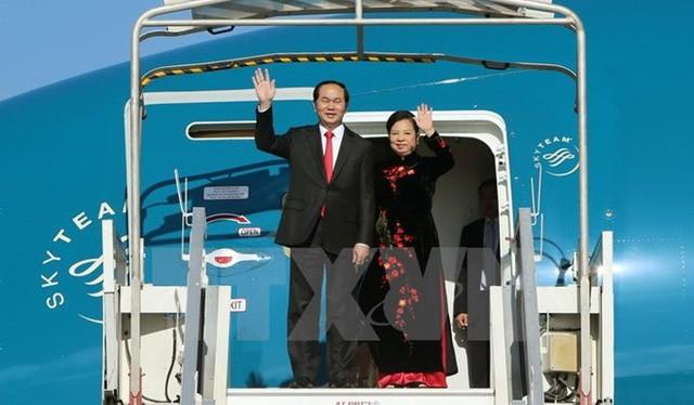 Chủ tịch nước và Phu nhân lên đường thăm chính thức Liên bang Nga, Belarus (ảnh: TTXVN)