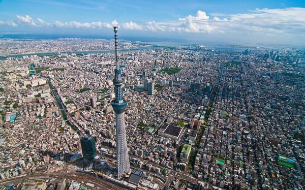Tokyo Skytree hiện là tháp truyền hình cao nhất thế giới với độ cao 634m.