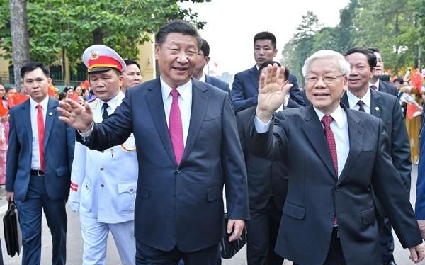 Tổng bí thư Nguyễn Phú Trọng và Tổng bí thư, Chủ tịch Trung Quốc Tập Cận Bình - Ảnh: VnExpress