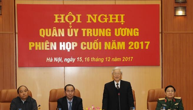 Tổng Bí thư Nguyễn Phú Trọng chủ trì Hội nghị Quân ủy Trung ương. Ảnh: TTXVN