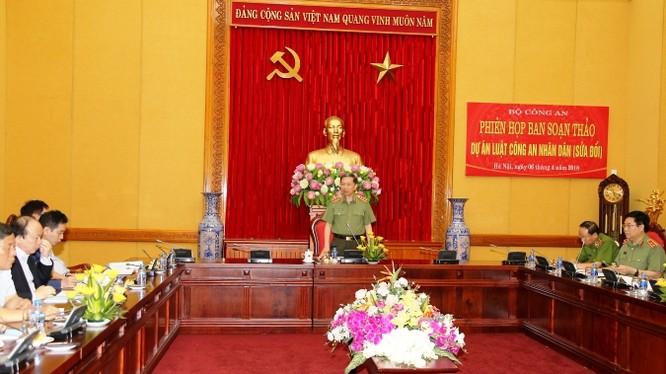 Bộ trưởng Bộ Công an, Thượng tướng Tô Lâm chủ trì Phiên họp Ban soạn thảo dự án Luật Công an nhân dân (CAND) - Ảnh: Cổng TTĐT Bộ Công an