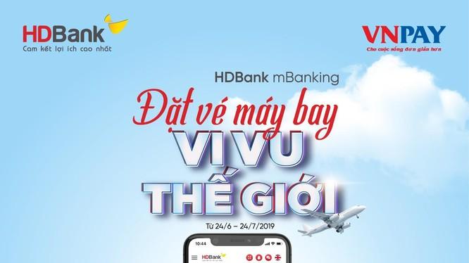 """""""Đặt vé máy bay"""" trên ứng dụng HDBank mBanking giúp khách hàng có nhiều lựa chọn trong việc đặt mua vé, so sánh giá với thao tác dễ dàng, thanh toán nhanh chóng."""