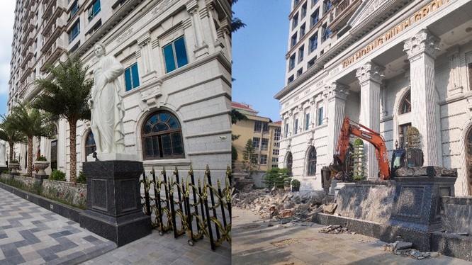 Hình ảnh hàng rào dự án D'. Palais Louis bị đập bỏ để điều chỉnh lại
