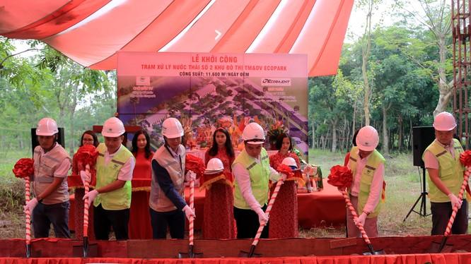 Đại diện lãnh đạo Tập đoàn Ecopark & nhà thầu Ecoba ENT thực hiện nghi lễ khởi công nhà máy xử lý nước thải thứ 4.