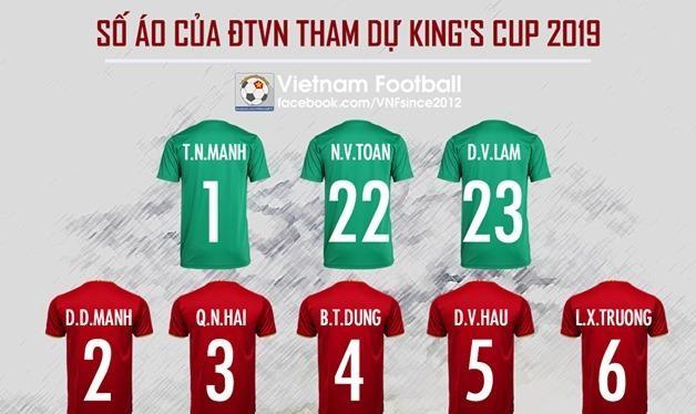 Số áo chính thức của ĐT Việt Nam dự giải King's Cup 2019. (Ảnh: Vietnamfootball)