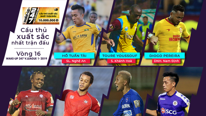 Trong 7 cầu thủ xuất sắc nhất trận đấu lần này có 3 nội binh Hồ Tuấn Tài (SLNA), Văn Quyết (Hà Nội), Nghiêm Xuân Tú (Quảng Ninh). Ảnh VPF.