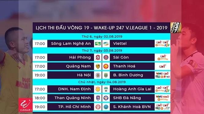 Lịch thi đấu vòng 19 V.League 2019. Ảnh VPF.