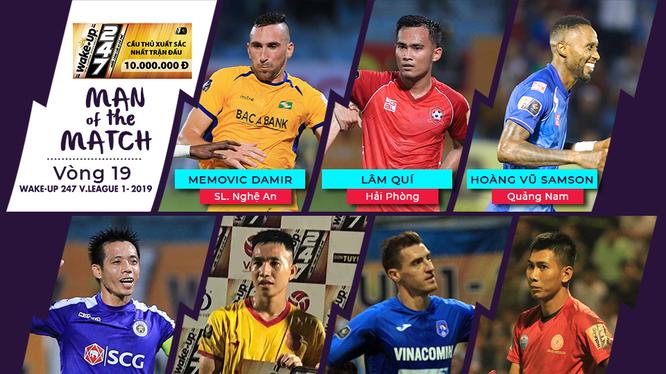 7 cầu thủ được bình chọn vào danh sách cầu thủ xuất sắc nhất trận đấu vòng 19. Ảnh VPF.