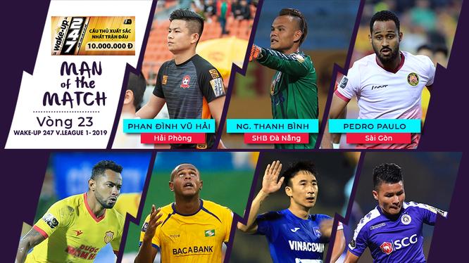 Danh sách 7 cầu thủ xuất sắc nhất vòng 23. Ảnh VPF.