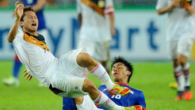 Soukaphone Vongchiengkham là cầu thủ hiếm hoi của Lào thi đấu ngoài lãnh thổ quốc gia. Ảnh: Laos Update.