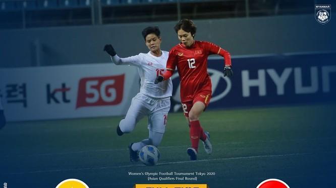 Đánh bại ĐT nữ Myanmar 1-0, ĐT nữ Việt Nam đã hoàn thành mục tiêu giành vé vào vòng loại cuối cùng Olympic Tokyo 2020 . Ảnh VFF.