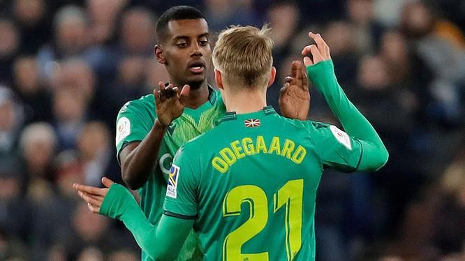 Đội bóng hoàng gia bị loại bởi một trong những bàn thắng do cầu thủ vẫn còn trong biên chế của CLB này là Martin Odegaard ghi ở phút 27. Ảnh RM
