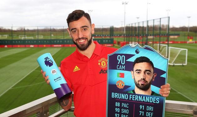 Tân binh Bruno Fernandes giành hat-trick danh hiệu Cầu thủ xuất sắc nhất tháng 2. Ảnh CLB.