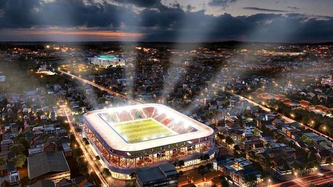 Tổ hợp sân Hàng Đẫy 250 triệu USD trong tương lai. Ảnh HNFC