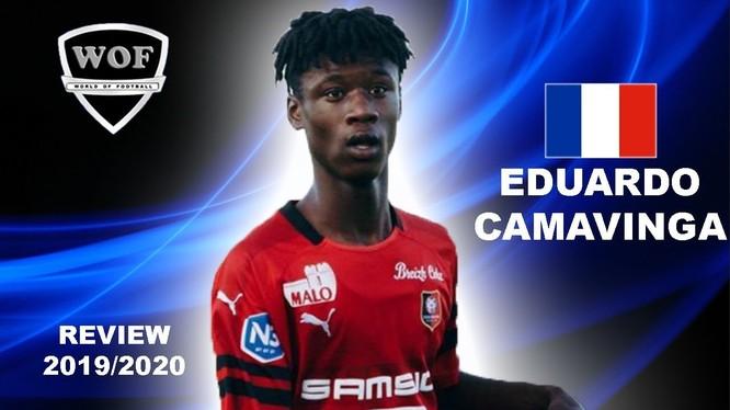 Eduardo Camavinga bất ngờ được tạp chí France Football bầu là Cầu thủ xuất sắc nhất lượt đi Ligue 1 mùa giải 2019 - 2020, khi mới 17 tuổi. Ảnh Rennes.