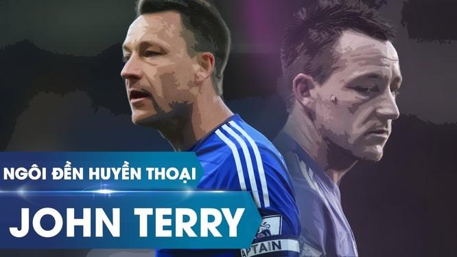 Cho đến khi rời đội bóng thành London vào mùa giải 2016, Terry đã đá 492 trận, ghi được 41 bàn thắng dù chơi ở hàng phòng thủ. Ảnh CLB