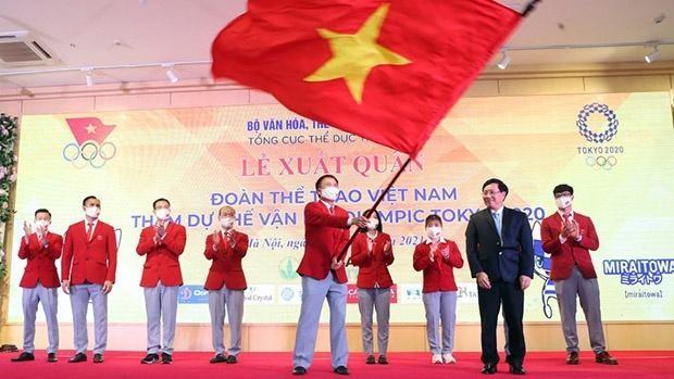 Tối 13/7, đoàn Thể thao Việt Nam (TTVN) đã chính thức làm lễ xuất quân hướng tới Olympic Tokyo 2020 . Ảnh TT