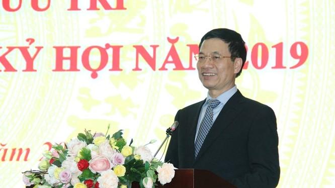 Bộ trưởng Bộ TT&TT Nguyễn Mạnh Hùng phát biểu tại buổi gặp mặt