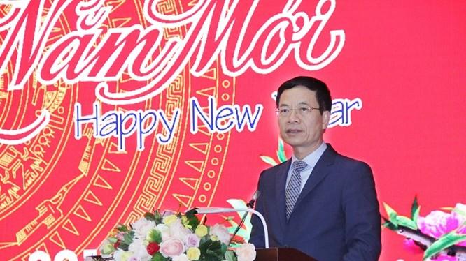 Bộ trưởng Nguyễn Mạnh Hùng phát biểu tại buổi gặp mặt đầu Xuân Kỷ Hợi 2019.