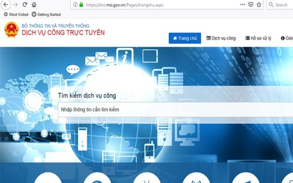 Cổng dịch vụ công trực tuyến của Bộ TT&TT