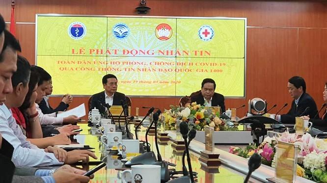 """Bộ trưởng Bộ TT&TT Nguyễn Mạnh Hùng tại Lễ phát động """"Toàn dân nhắn tin ủng hộ phòng, chống dịch bệnh Covid-19"""""""