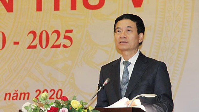 Bộ trưởng Nguyễn Mạnh Hùng phát biểu tại Đại hội. Ảnh MIC