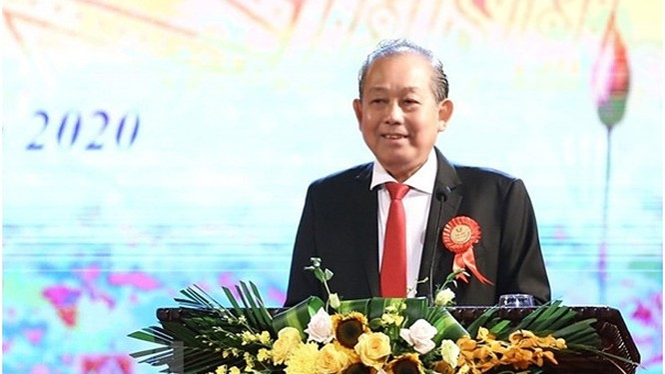 Phó Thủ tướng Trương Hòa Bình phát biểu tại Đại hội. Ảnh Mic