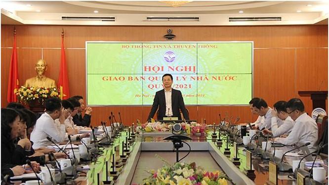 Bộ trưởng Nguyễn Mạnh Hùng phát biểu chỉ đạo Hội nghị. Ảnh Mic