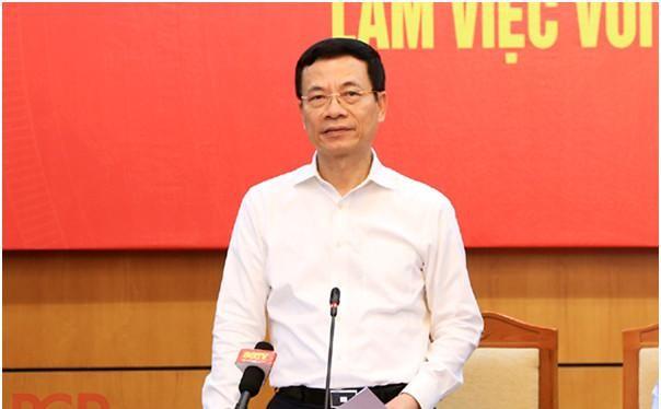Bộ trưởng Nguyễn Mạnh Hùng phát biểu tại buổi làm việc. Ảnh Mic