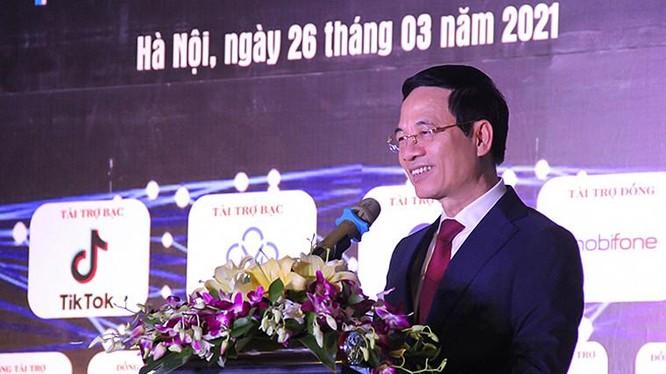 Bộ trưởng Nguyễn Mạnh Hùng phát biểu tại sự kiện. Ảnh Mic.