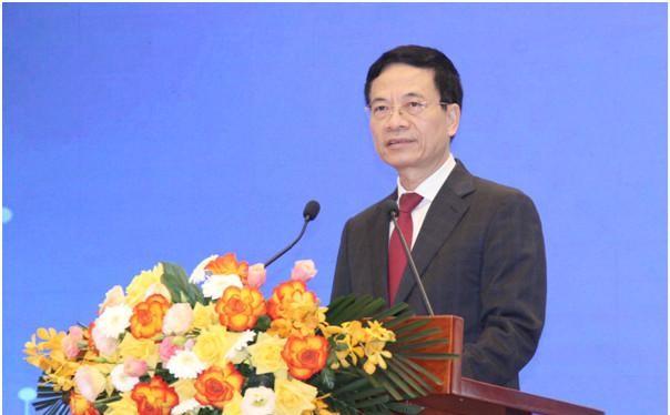 Bộ trưởng Nguyễn Mạnh Hùng phát biểu tại Hội nghị. Ảnh Mic