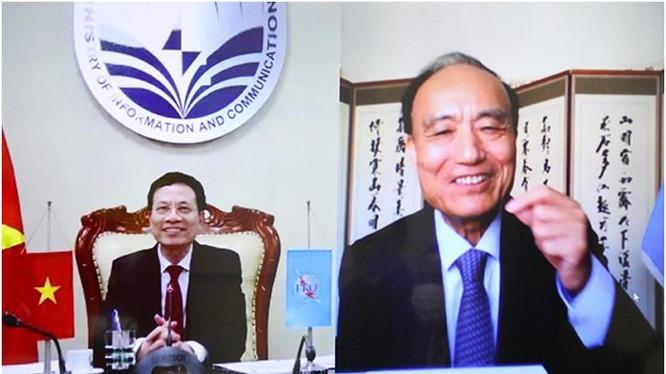 Bộ trưởng Nguyễn Mạnh Hùng và ông Zihiao Hoalin tại buổi điện đàm. Ảnh Mic