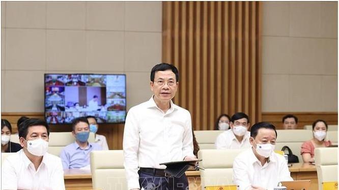 Bộ trưởng Nguyễn Mạnh Hùng phát biểu tại Hội nghị (ảnh TTXVN)