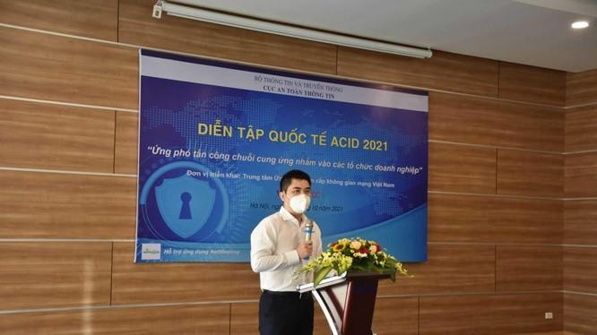 Ông Nguyễn Đức Tuân phát biểu tại cuộc diễn tập. Ảnh VNCERT