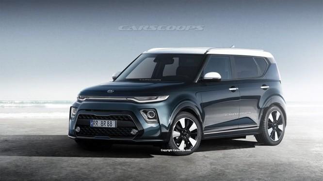 Hình ảnh dựng của Kia Soul 2020 dựa trên những gì mà các phóng viên đã chụp được khi mẫu xe này chạy thử trên đường. (Nguồn Carscoops)