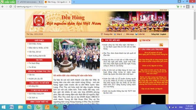 Trang web của khu di tích Đền Hùng hoàn toàn không có thông tin bằng tiếng Anh. Ảnh chụp màn hình