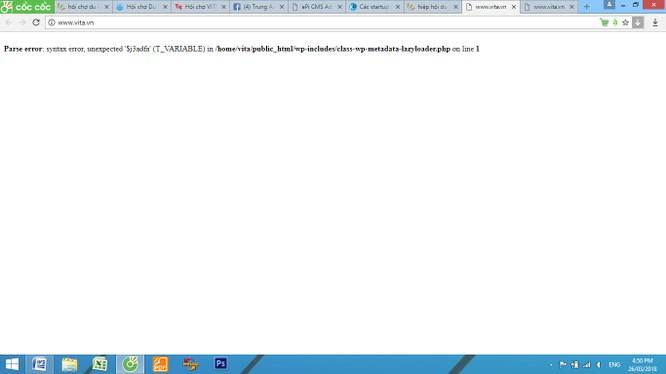 Trang web www.vita.vn của Hiệp hội Du lịch Việt Nam hoàn toàn không truy cập được. Ảnh chụp màn hình lúc 16h30 ngày 26/3/2018