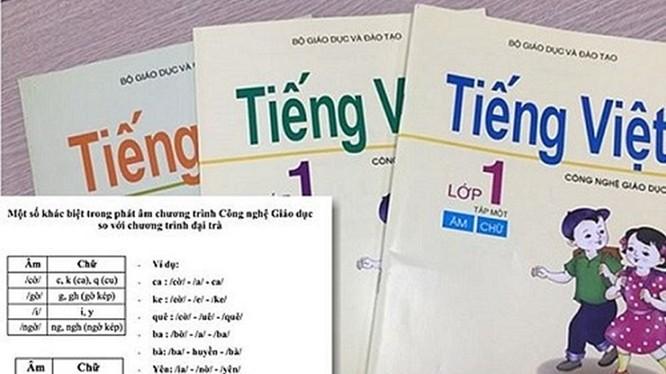 Sách giáo khoa lớp 1 theo chương trình công nghệ giáo dục của GS Hồ Ngọc Đại. Ảnh: báo Lao Động