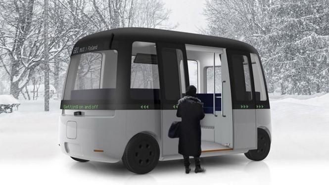 Xe buýt Gacha do Muji thiết kế đang được thử nghiệm chế độ tự lái ở Phần Lan. ẢNH: MUJI