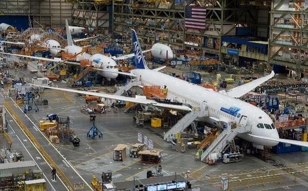 Nhà máy lắp ráp máy bay của Boeing ở thành phố Everett, bang Washington, Mỹ. Ảnh: Boeing Co