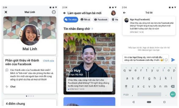 """Tính năng """"Gặp gỡ bạn mới"""" được Facebook triển khai thử nghiệm tại Việt Nam. - Ảnh: FACEBOOK"""