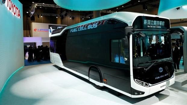 Hãng sản xuất xe hơi Nhật Bản Toyota quảng bá xe chạy bằng pin nhiên liệu hydro tại Thế vận hội Tokyo 2020.